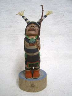 Native American Hopi Carved Clown Katsina Doll Gone Fishing