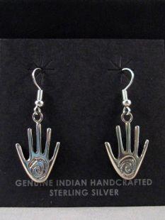 Native American Navajo Made Sterling Silver Healing Hand Earrings
