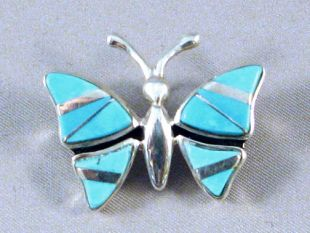 Native American Navajo Made Butterfly Pin/Pendant with Turquoise