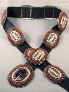 Vintage Native American Zuni Made Concha Belt with Coral