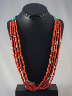 Vintage Native American Made Four-Strand Coral and Turquoise Necklace