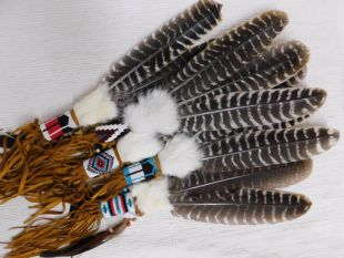 Native American Navajo Made Prayer Fan with Beading and Fringe