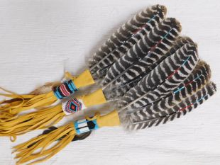 Native American Navajo Made Painted Prayer Fan with Beading and Fringe