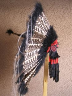 Native American Made Black Barred Turkey Warbonnet
