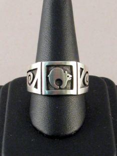 Native American Hopi Made Overlay Ring with Bear