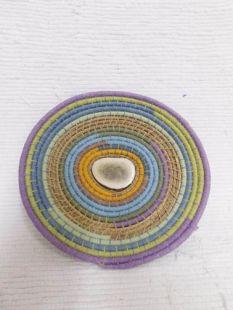 Native American Chippewa Made Basket--Pastels