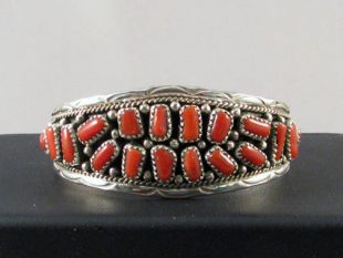 Native American Navajo Made Cuff Bracelet with Coral