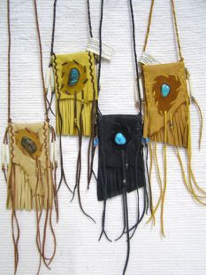 Native American Cherokee Made Medicine Bags with Fringe and Turquoise