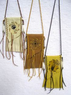 Native American Cherokee Made Medicine Bags with Fringe