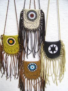 Native American Cherokee Made Rosette Medicine Bags