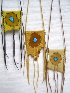 Native American Cherokee Made Medicine Bags--Medium with Turquoise