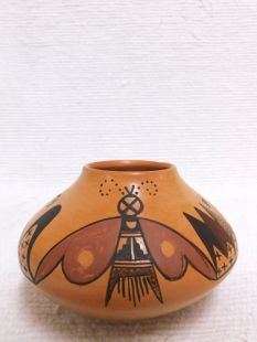 Native American Hopi Handbuilt and Handpainted Traditional Pot with Butterfly