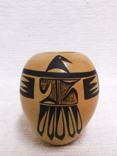 Native American Hopi Handbuilt and Handpainted Traditional Pot with Thunderbird