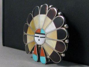 Native American Zuni Made Sunface (Zia) Buckle