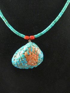 Native American Zuni Made Necklace with Healing Hand