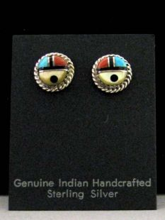 00Native American Zuni Made Earrings with Sunface (Zia)-Post