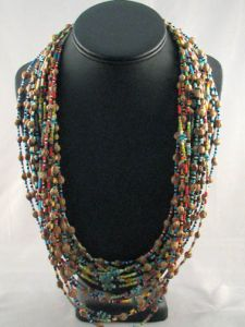 Native American Navajo Made Turquoise, Glass and Ghost Bead Necklaces