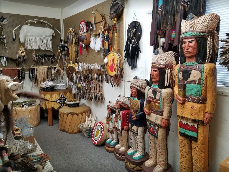 cigar stand carved indians at Kachina House
