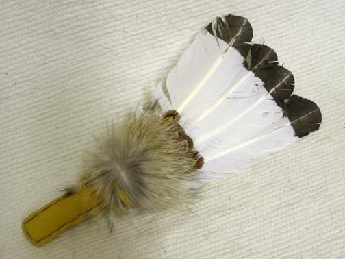 White Native American Prayer Fan